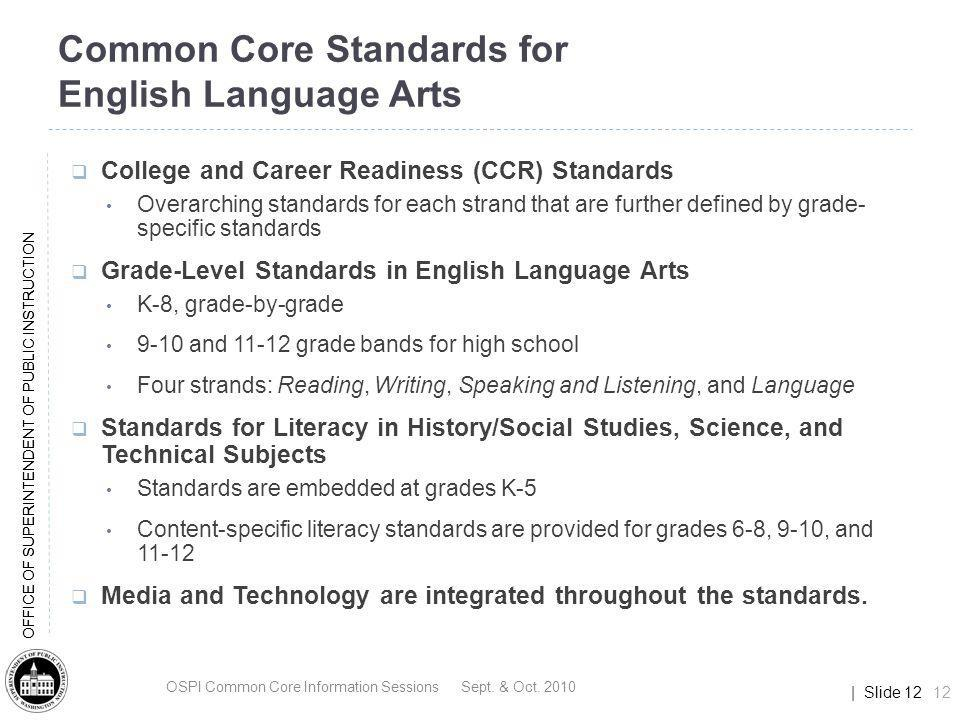 Common Core Standards for English Language Arts