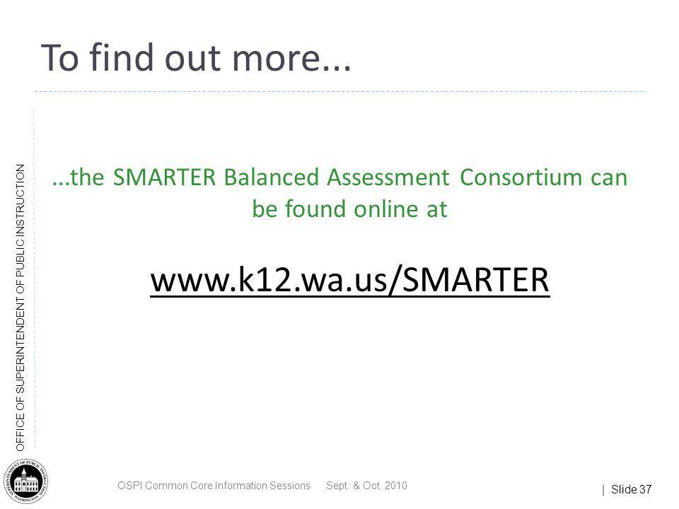 To find out more......the SMARTER Balanced Assessment Consortium can be found online at. www.k12.wa.us/SMARTER.