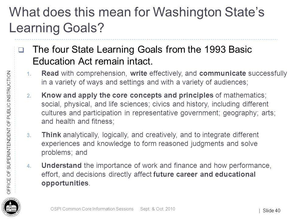 What does this mean for Washington State's Learning Goals