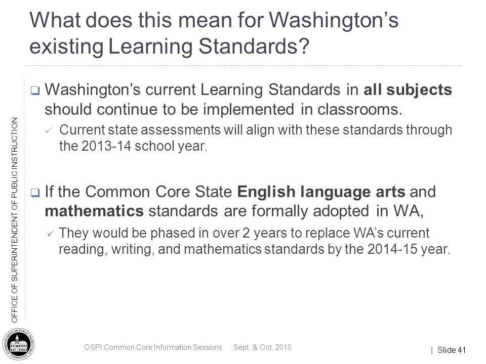 What does this mean for Washington's existing Learning Standards