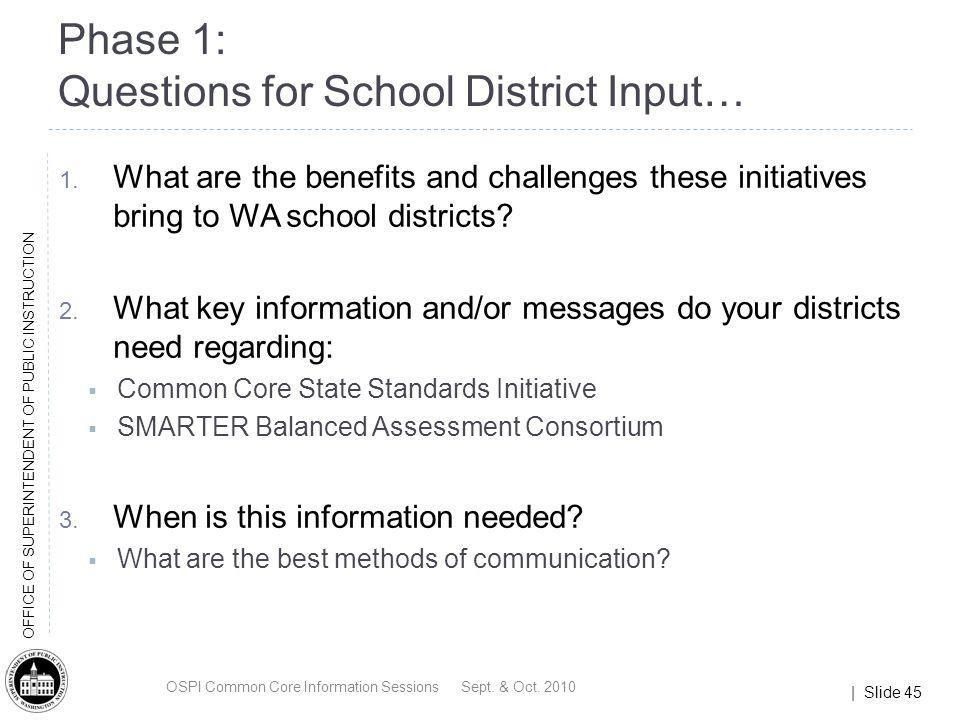 Phase 1: Questions for School District Input…