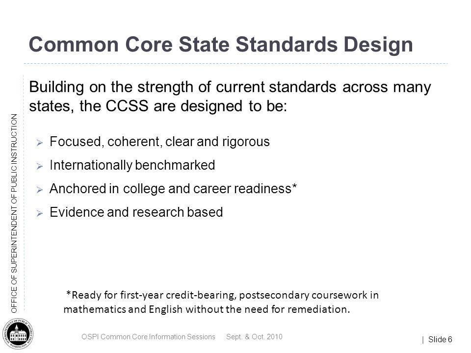 Common Core State Standards Design