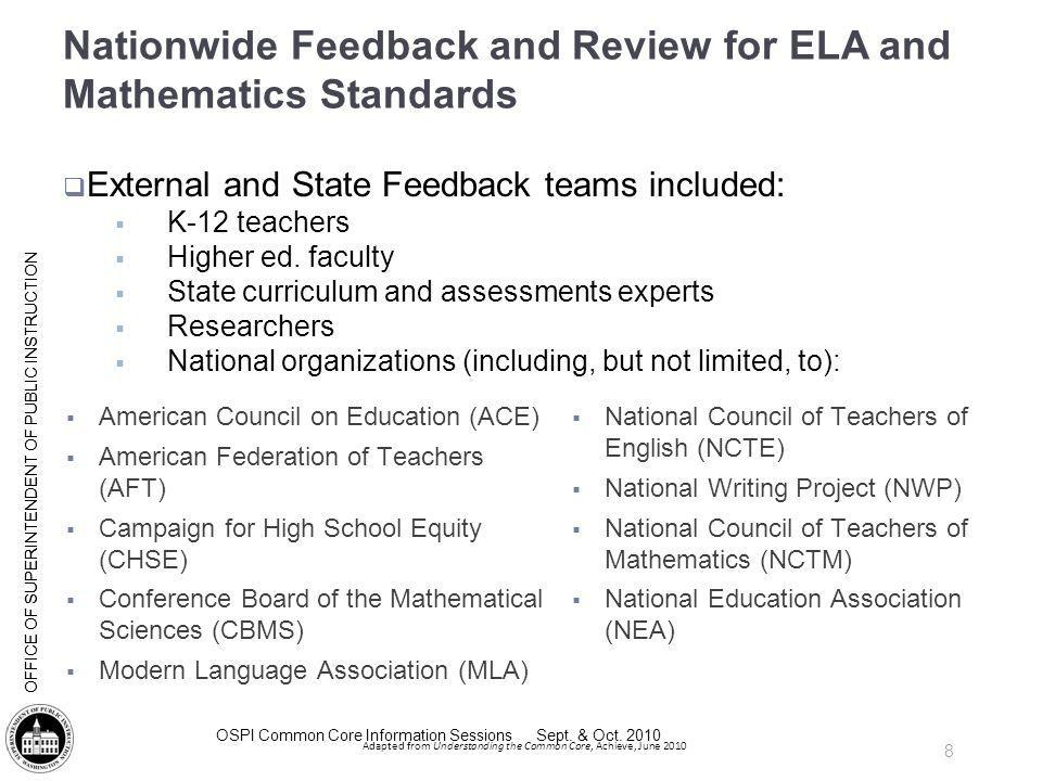 Nationwide Feedback and Review for ELA and Mathematics Standards
