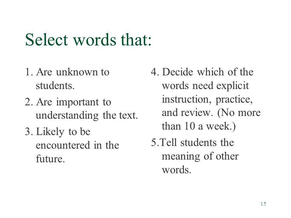 Select words that: 1. Are unknown to students.