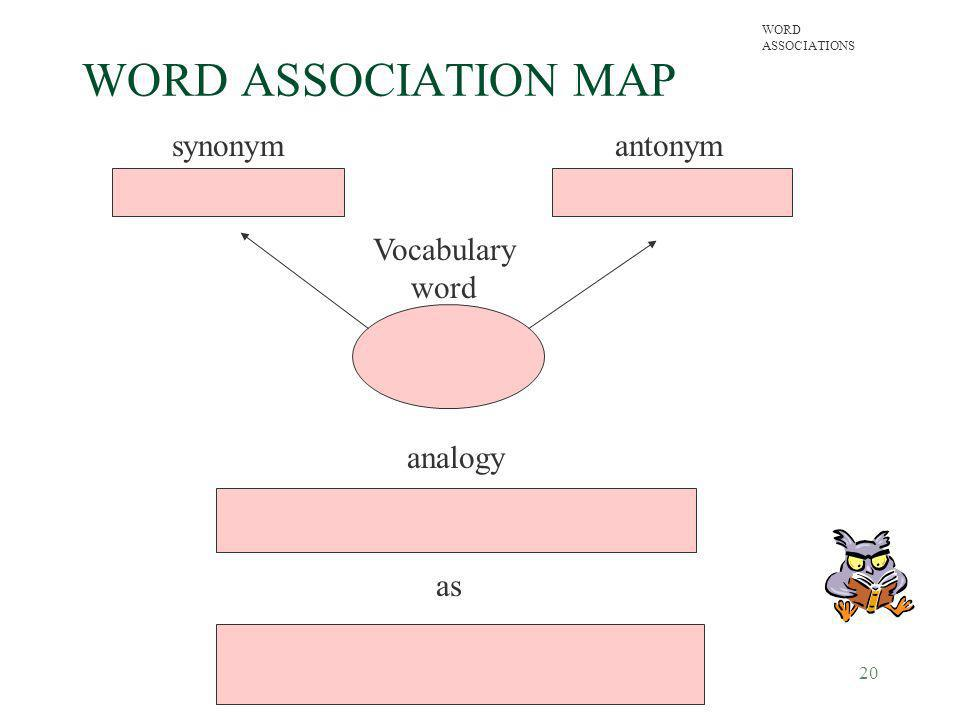 WORD ASSOCIATION MAP synonym antonym Vocabulary word analogy as