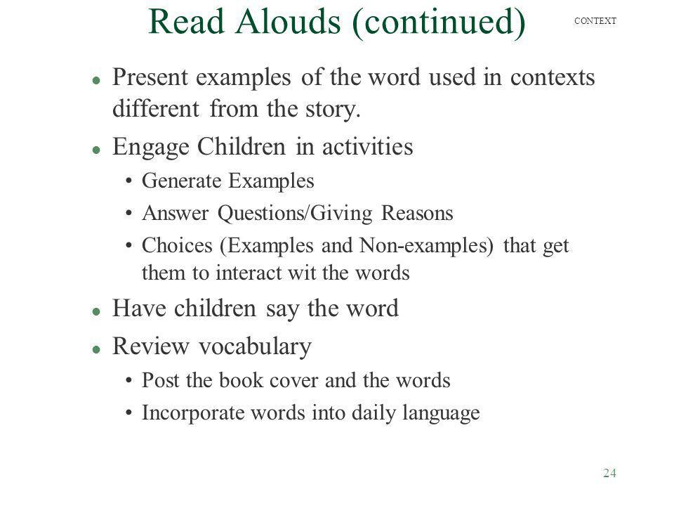 Read Alouds (continued)