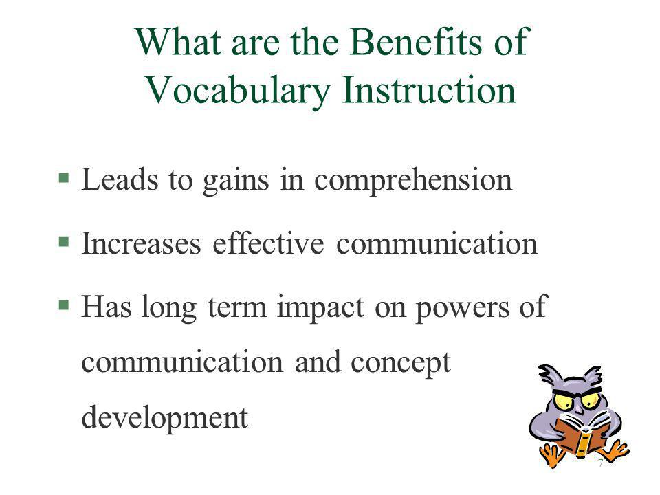 What are the Benefits of Vocabulary Instruction