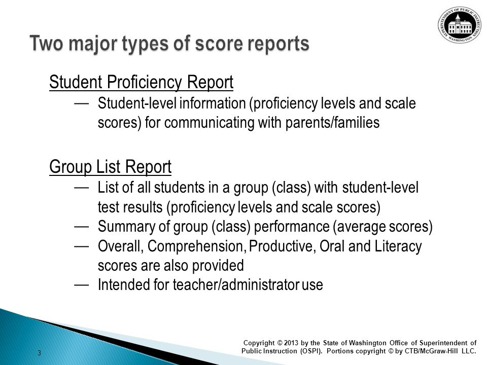 Two major types of score reports