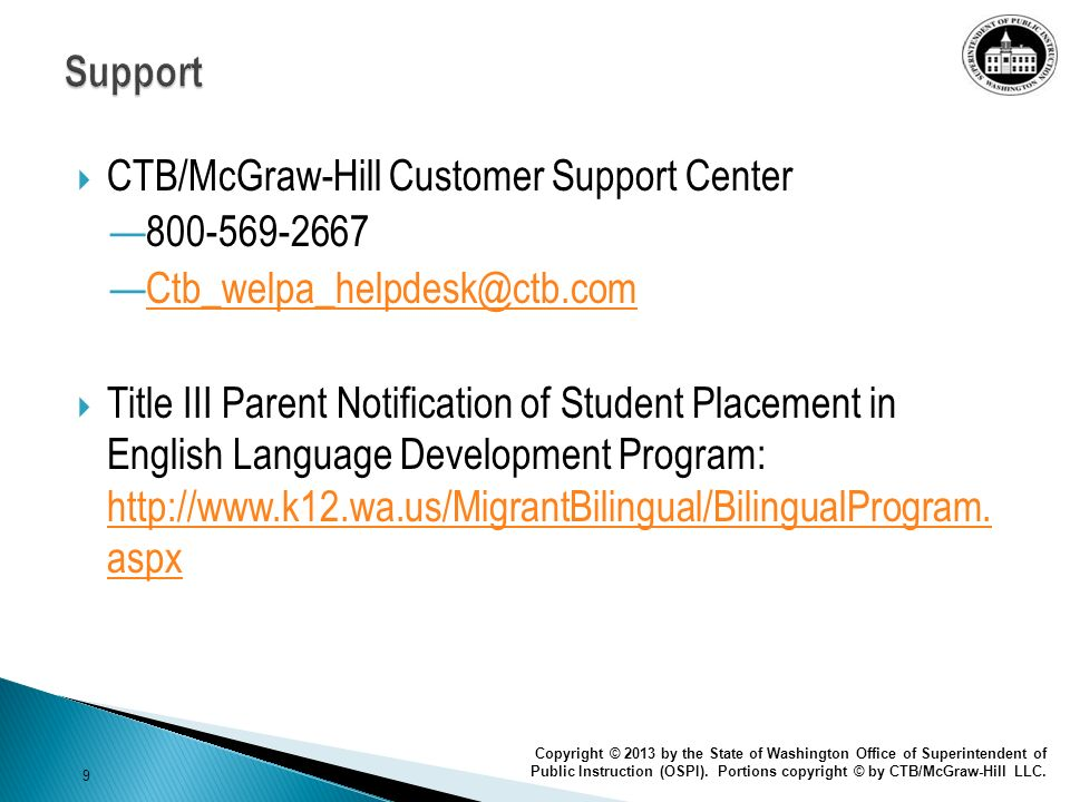 CTB/McGraw-Hill Customer Support Center