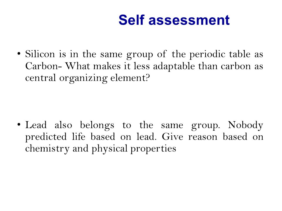 Self Assessment Silicon Is In The Same Group Of The Periodic Table