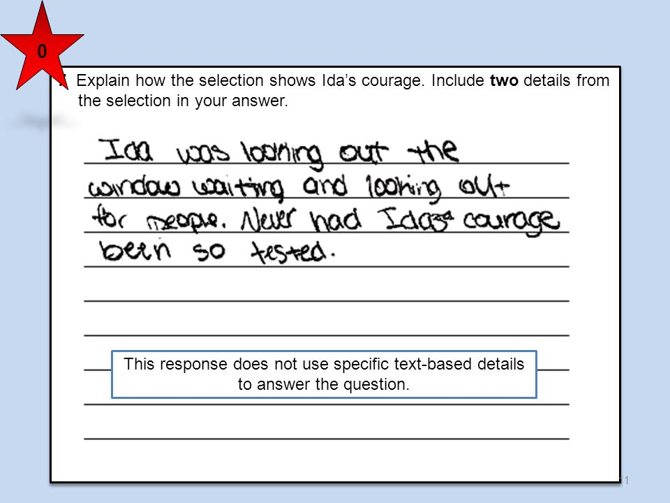 7 Explain how the selection shows Ida's courage. Include two details from the selection in your answer.