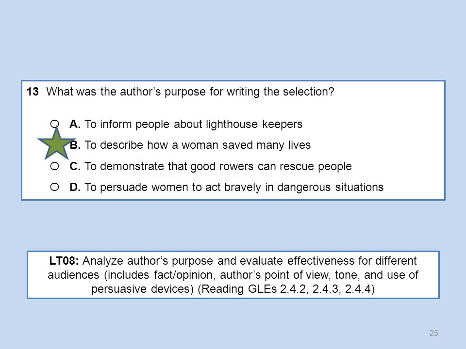 13 What was the author's purpose for writing the selection
