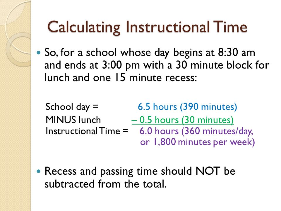 Calculating Instructional Time