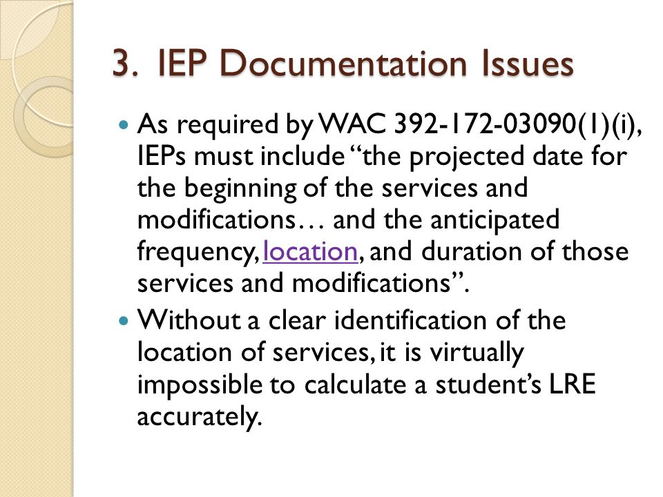 3. IEP Documentation Issues