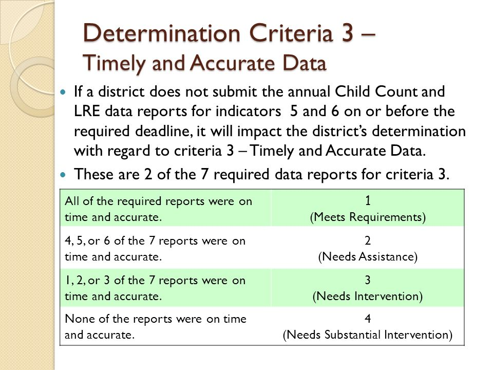 Determination Criteria 3 – Timely and Accurate Data