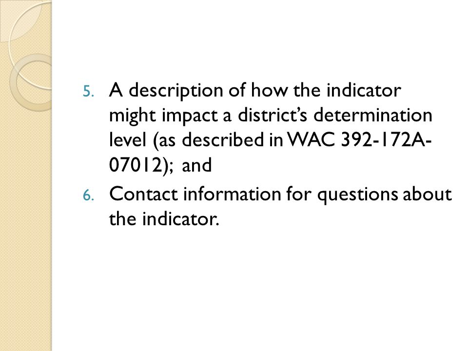 A description of how the indicator might impact a district's determination level (as described in WAC 392-172A- 07012); and