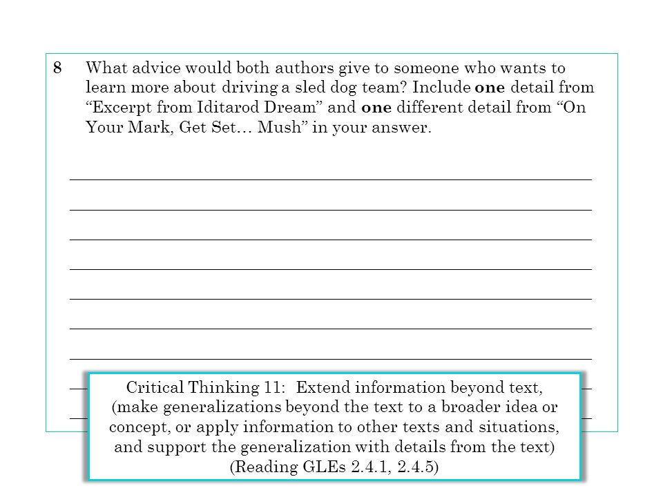 Critical Thinking 11: Extend information beyond text,