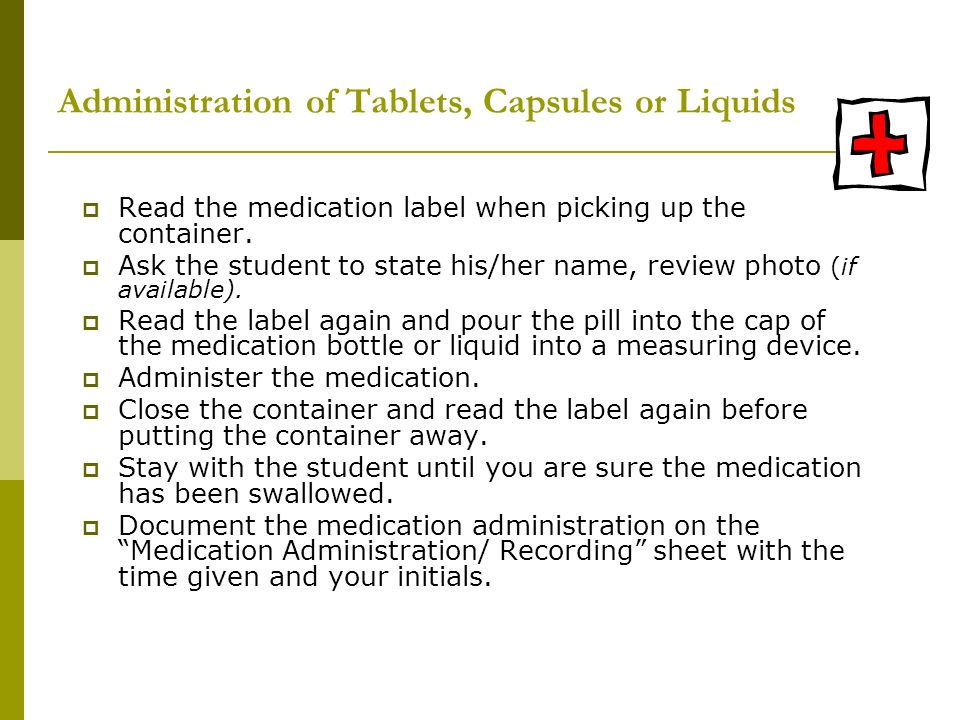 Administration of Tablets, Capsules or Liquids