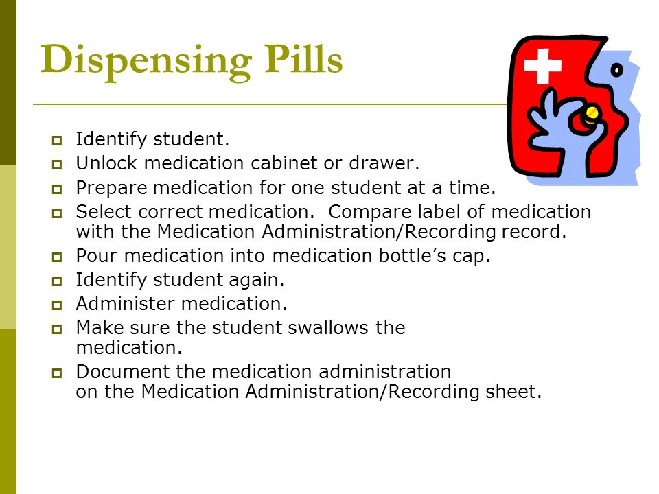 Dispensing Pills Identify student.