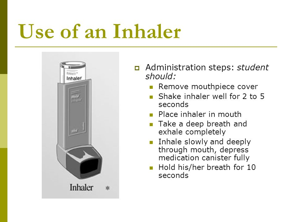 Use of an Inhaler Administration steps: student should: