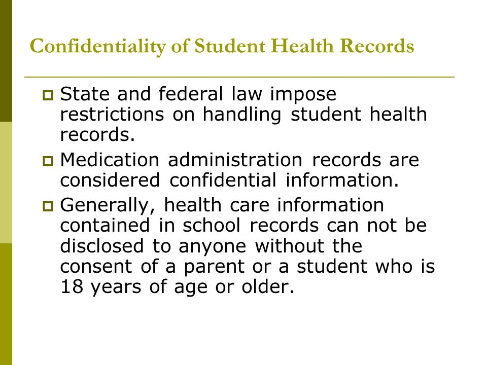Confidentiality of Student Health Records
