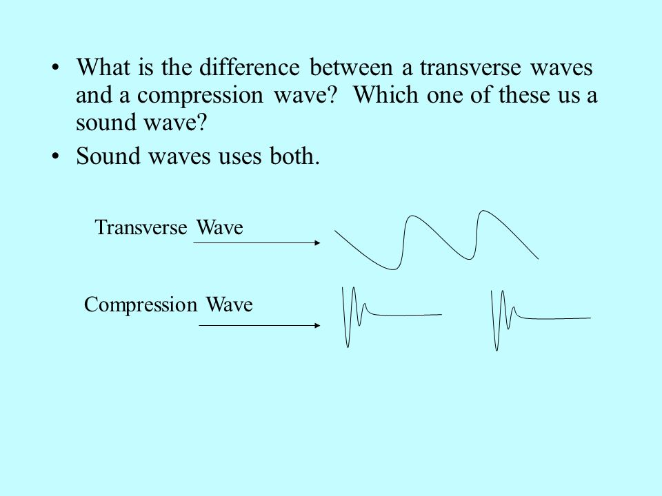 What is the difference between a transverse waves and a compression wave Which one of these us a sound wave