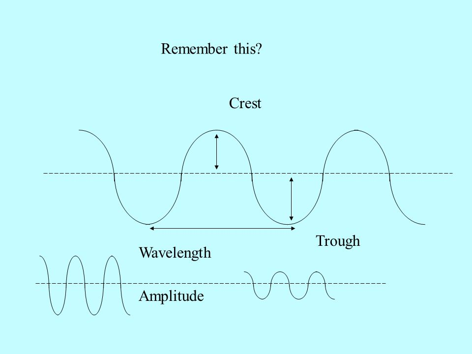 Remember this Crest Trough Wavelength Amplitude