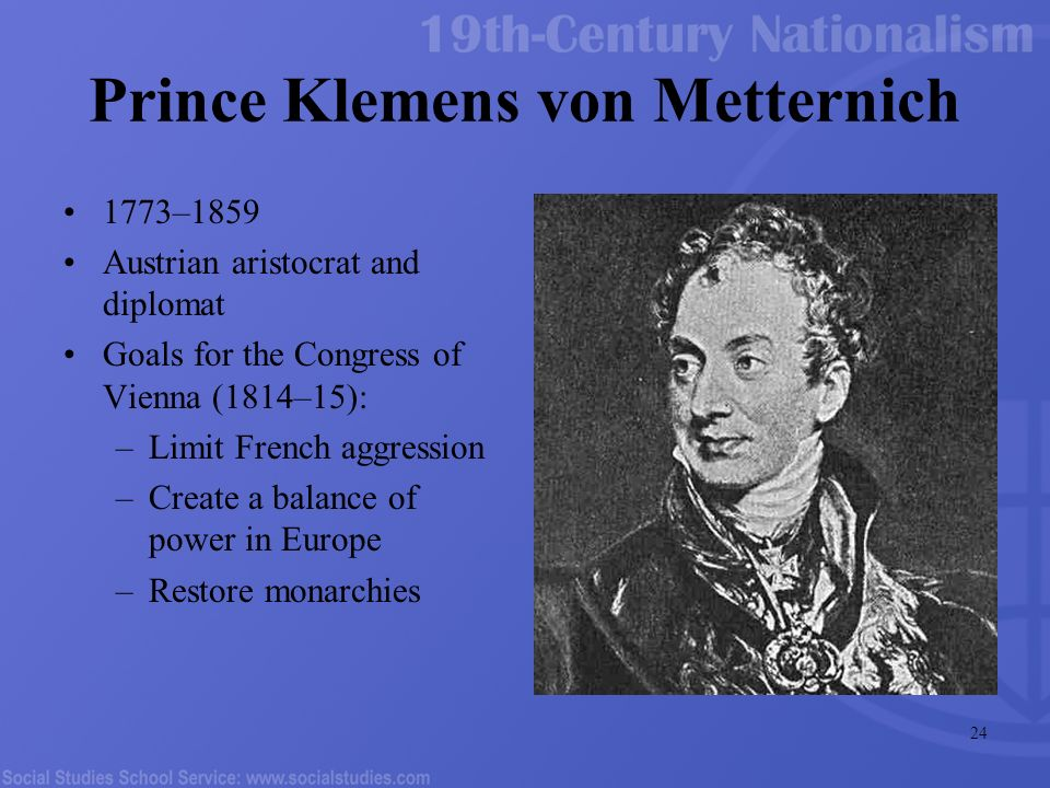 the career of the austrian foreign minister from the 19th century klemens von metternich Find and save ideas about congress of vienna on pinterest ~ was austrian foreign minister in the early 19th century and the leading figure during the congress of vienna in 1814 and 1815 klemens, fürst von metternich, austrian statesman, minister of foreign affairs.