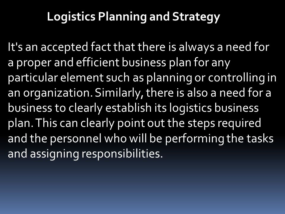 logistic dynamics business plan