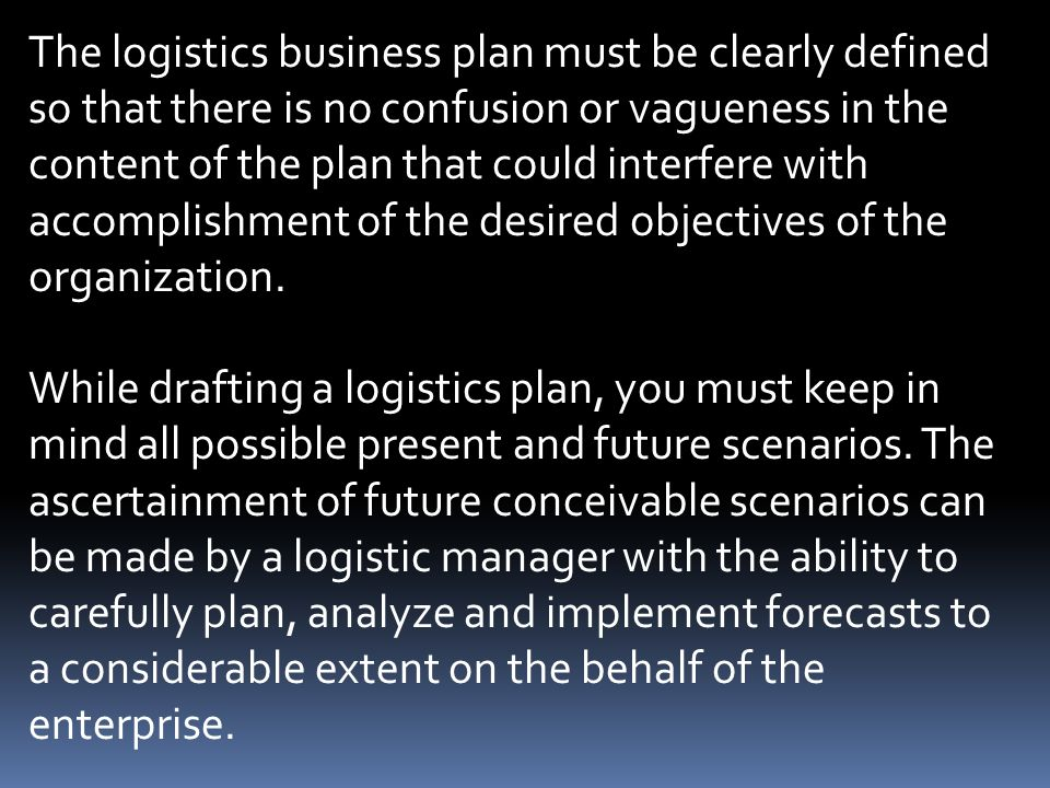 A Sample Logistics Company Business Plan Template