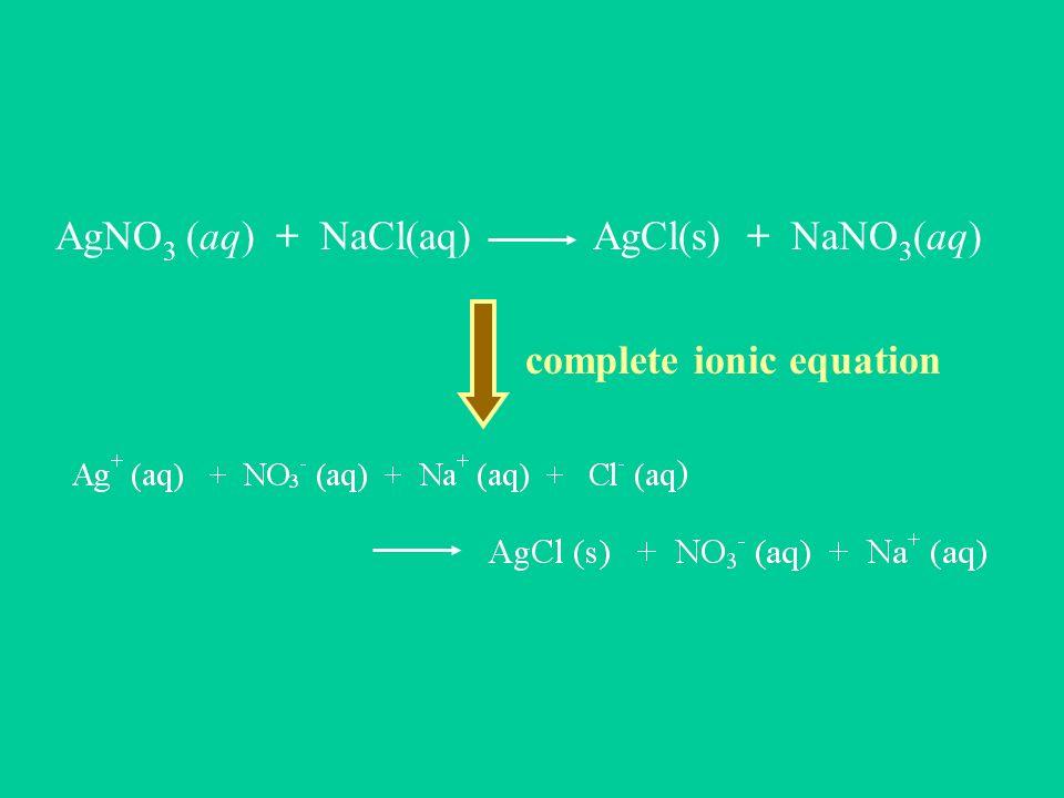 AgNO3 (aq) + NaCl(aq) AgCl(s) + NaNO3(aq)