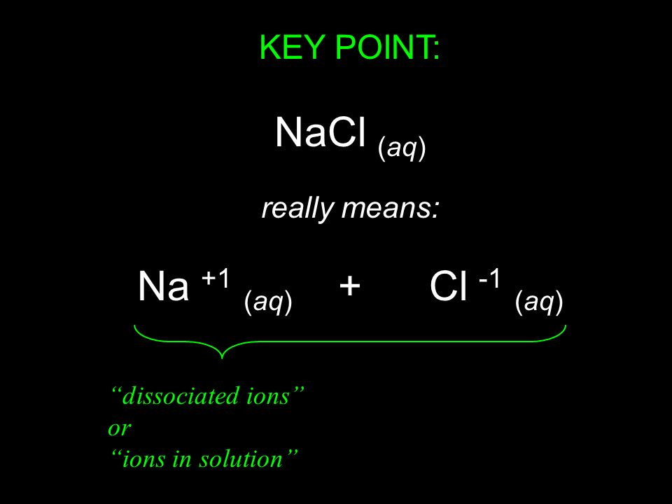 NaCl (aq) Na +1 (aq) + Cl -1 (aq) KEY POINT: really means: