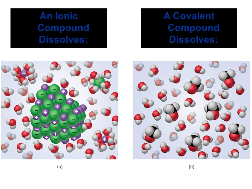An Ionic Compound Dissolves: A Covalent Compound Dissolves: