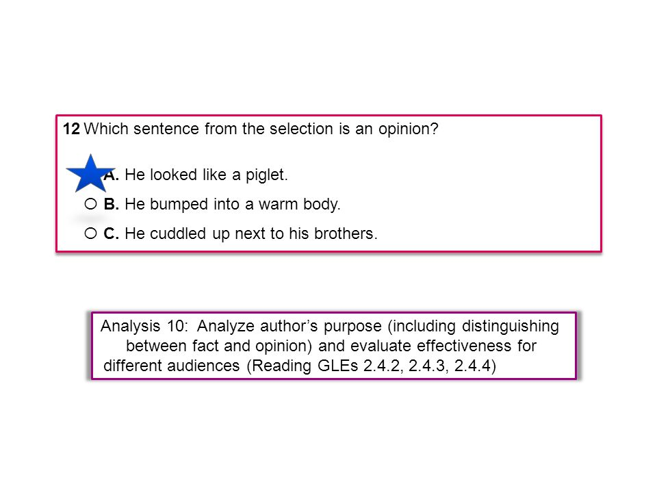 12 Which sentence from the selection is an opinion