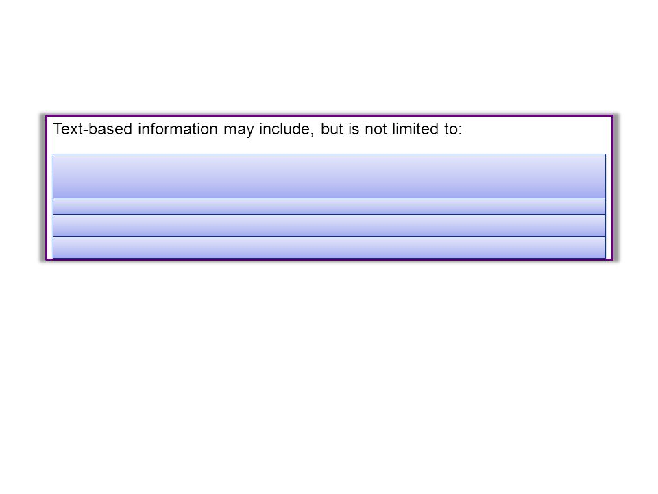 Text-based information may include, but is not limited to: