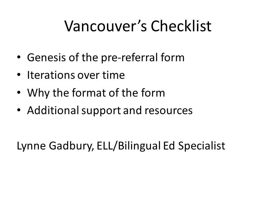 Vancouver's Checklist