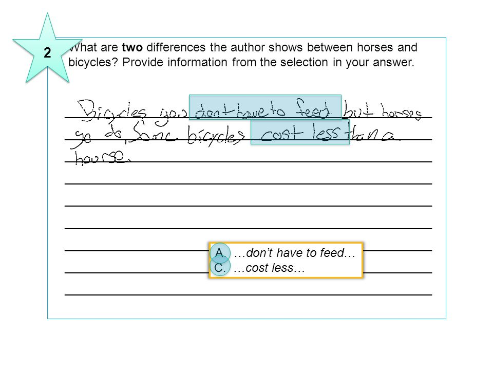 2 11 What are two differences the author shows between horses and bicycles Provide information from the selection in your answer.