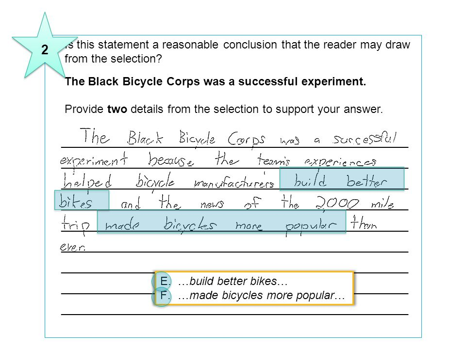 2 8 Is this statement a reasonable conclusion that the reader may draw from the selection The Black Bicycle Corps was a successful experiment.