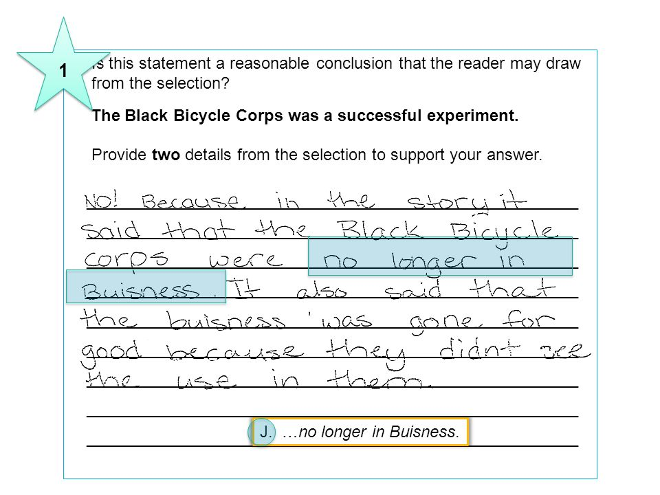 1 8 Is this statement a reasonable conclusion that the reader may draw from the selection The Black Bicycle Corps was a successful experiment.