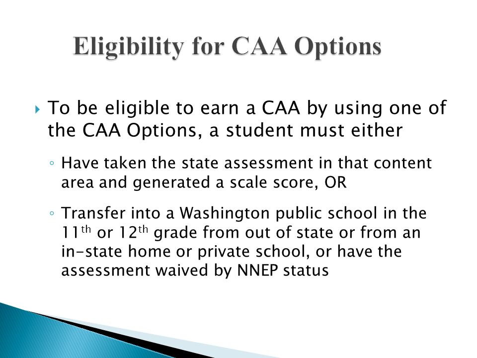 Eligibility for CAA Options