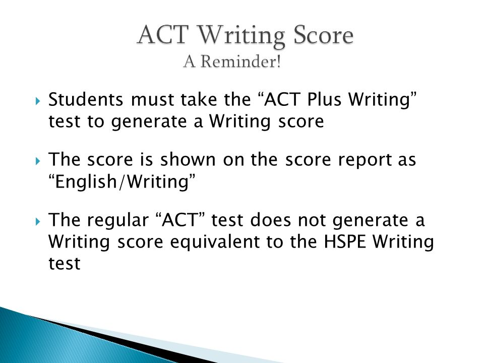 ACT Writing Score A Reminder!