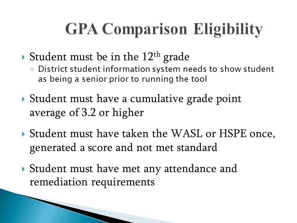 GPA Comparison Eligibility