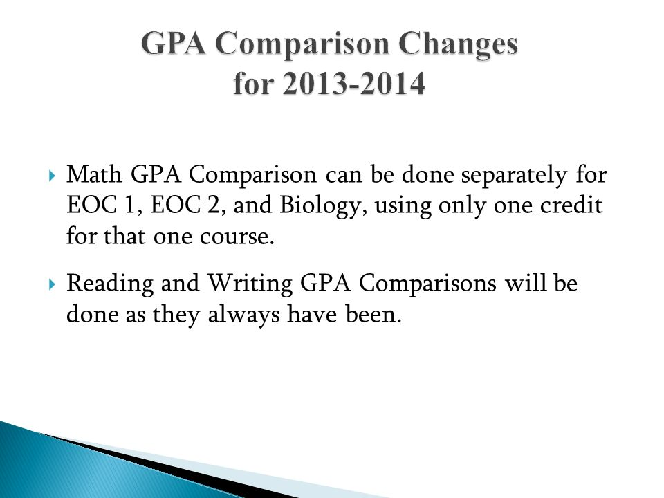 GPA Comparison Changes for 2013-2014