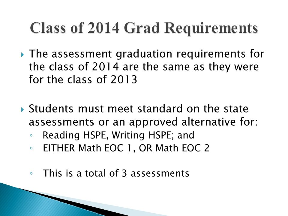 Class of 2014 Grad Requirements
