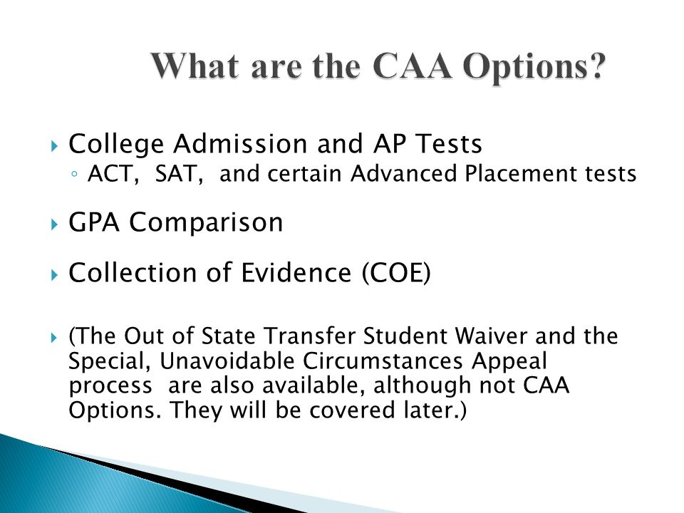 What are the CAA Options