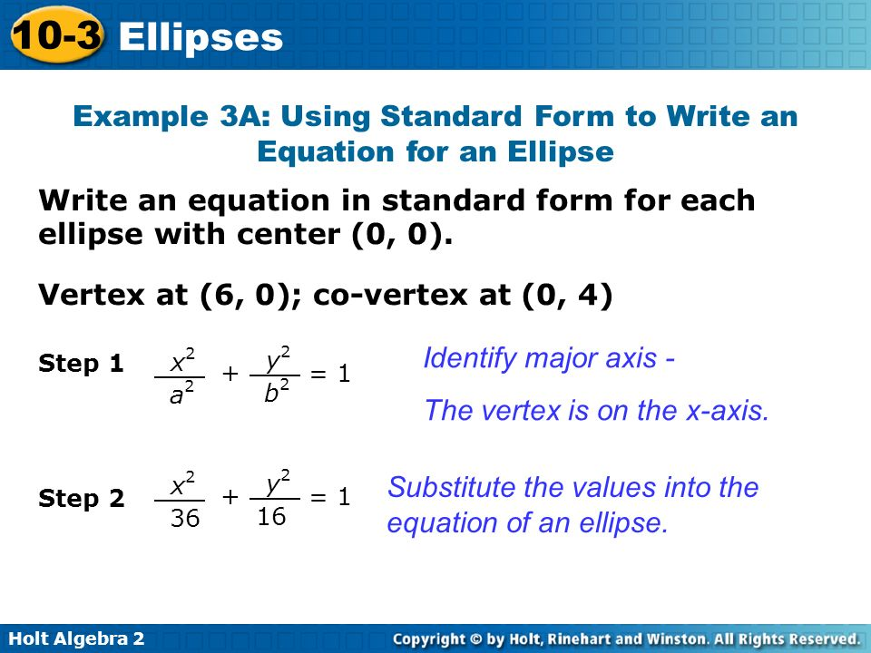 Example 3A: Using Standard Form to Write an Equation for an Ellipse