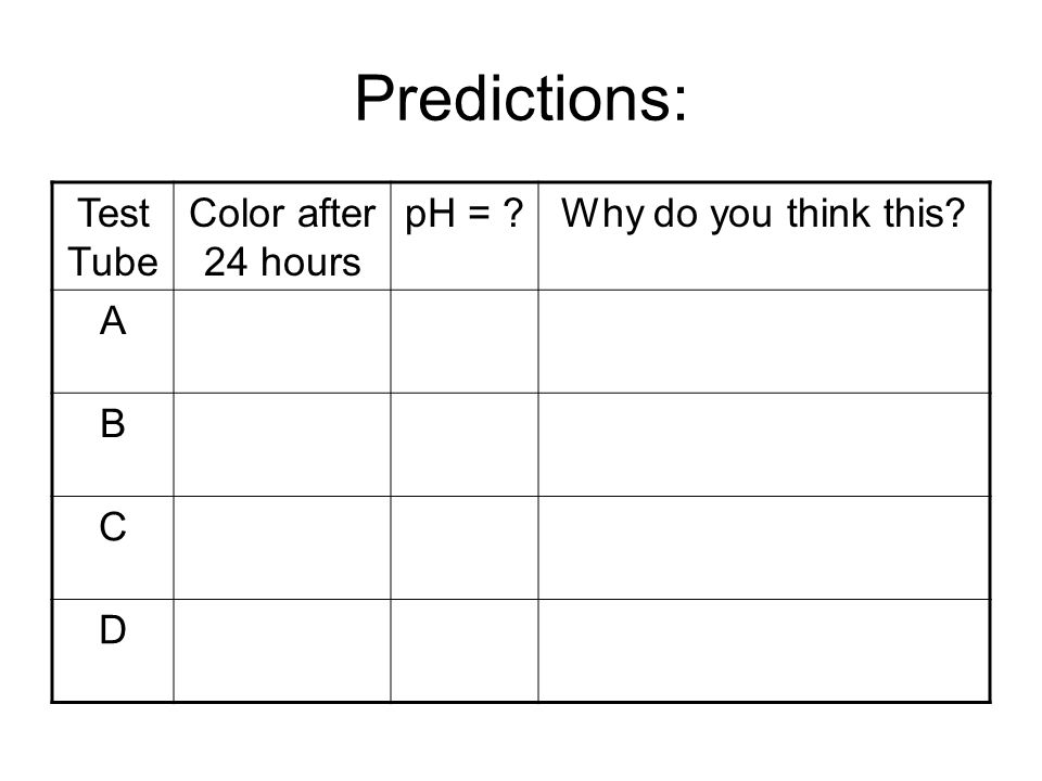 Predictions: Test Tube Color after 24 hours pH =