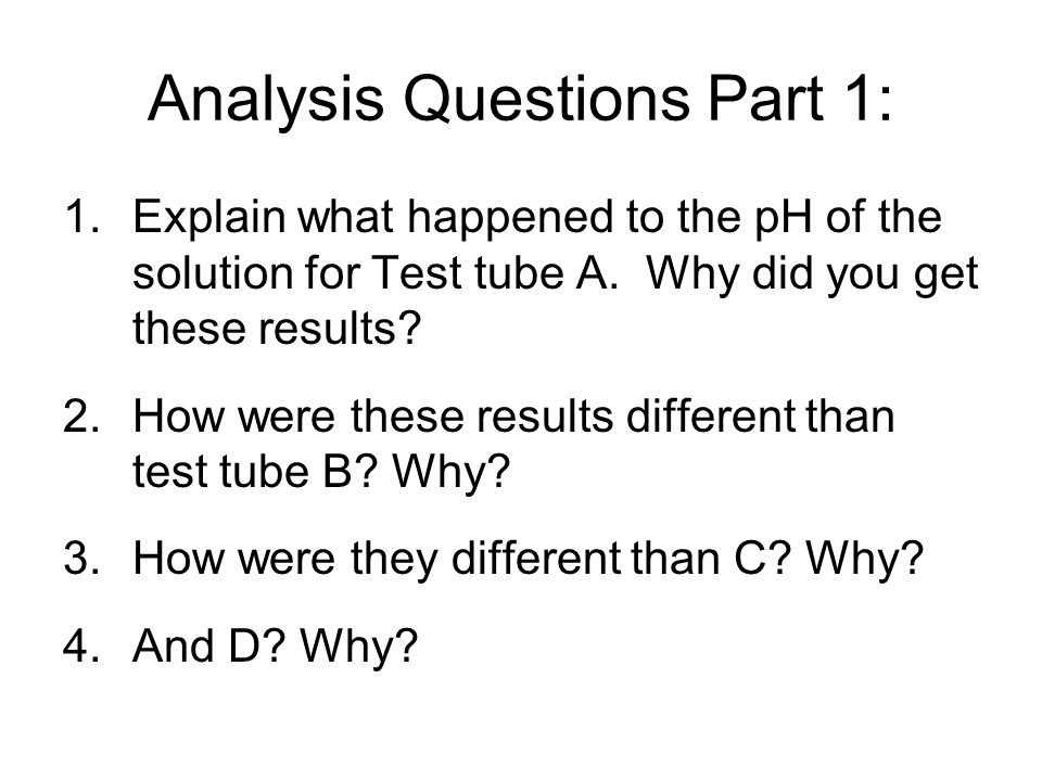 Analysis Questions Part 1: