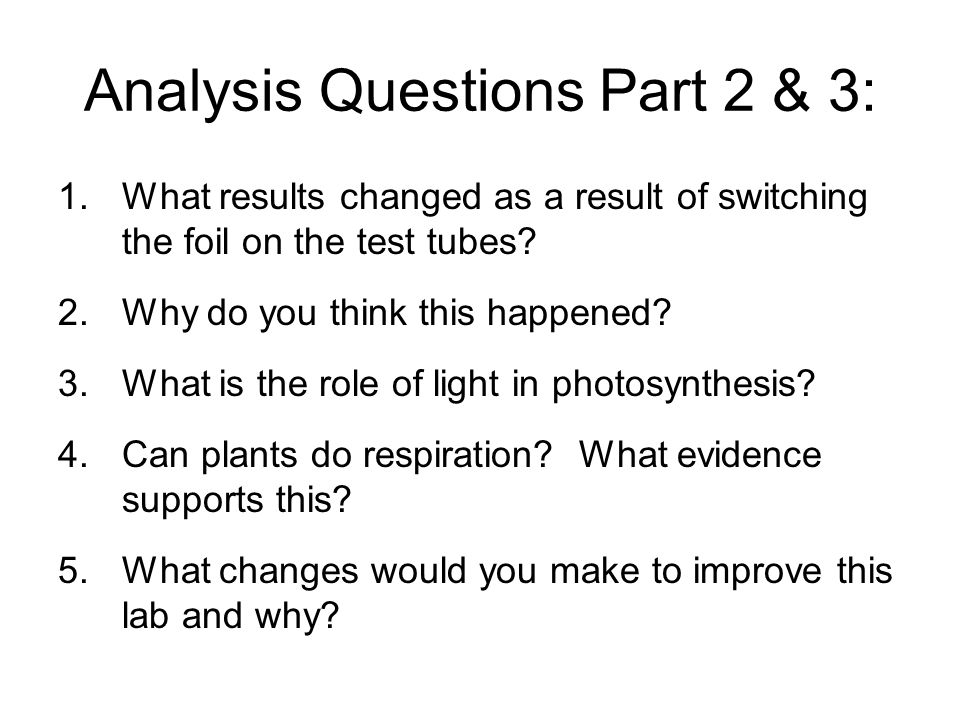Analysis Questions Part 2 & 3: