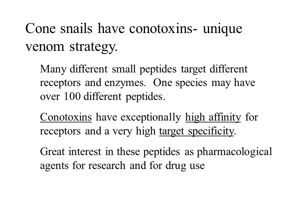 Cone snails have conotoxins- unique venom strategy.